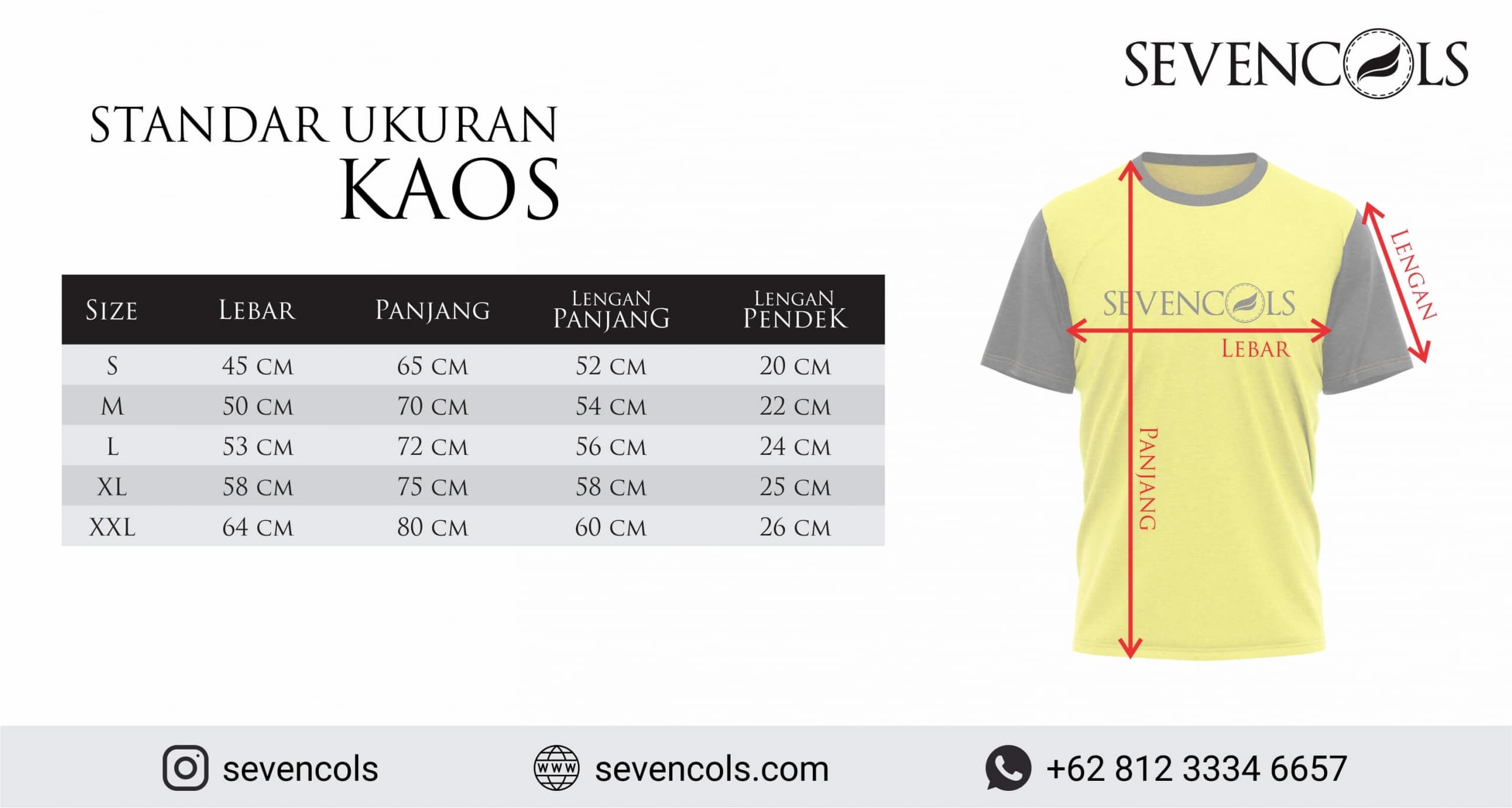 Standar Ukuran Kaos dan jersey Konveksi Malang Sevencols