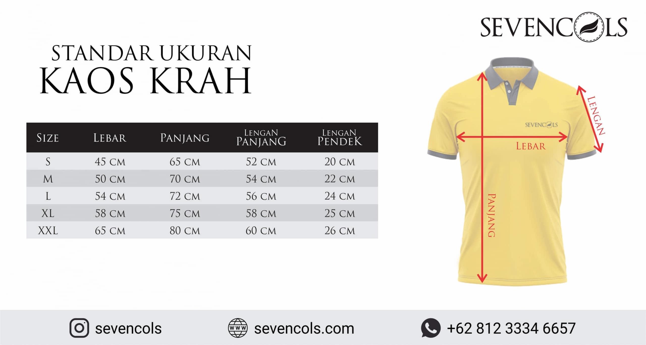 Standar Ukuran Kaos Krah/Polo Konveksi Malang Sevencols